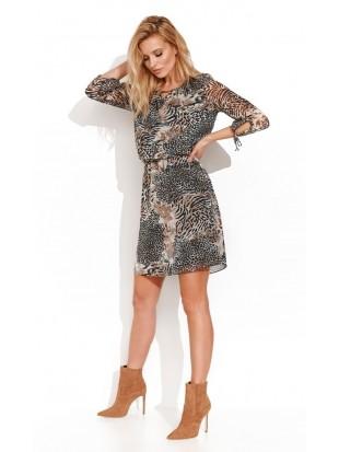 Sukienka mini we wzory zwierzęce YASUMI 020 ZAPS