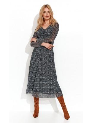 Sukienka midi z długim rękaw SANCIA 004 ZAPS