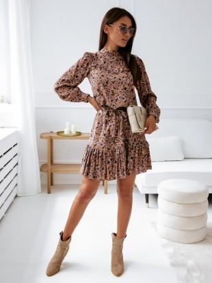Sukienka brązowa z falbanką - 3303
