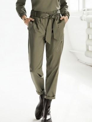 Długie spodnie khaki z wiązaniem - 22-264 SALKO