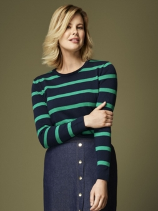 Sweterek damski w paski  - 92-283 SALKO