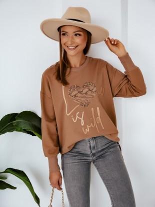 Bluza dresowa w kolorze kamelowym