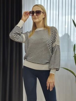 Sweter biały w paski  - SEGNO