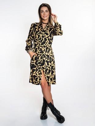 Sukienka rozpinana złoto - czarna
